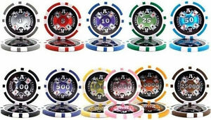 Ace Casino 14 Gram Clay Poker Chips Sample Set Pack 11 Denominations NEW