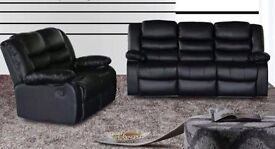 Rubie 3 and 2 Seater bonded leather recliner sofa set with pull down drinks holder