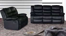 Rhodos 3 and 2 bonded leather recliner sofa set with pull down drink holder