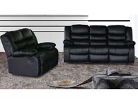 Contemporary Rosie 3 and 2 seat recliner in bonded leather with pull down drink holder