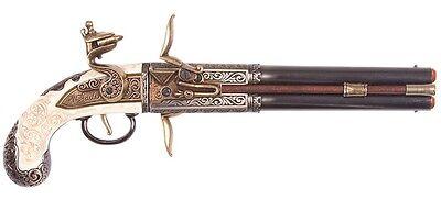 Denix 1750 Double Barrel Over-Under Flintlock Pistol Replica