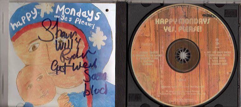 Happy Mondays Autographed Signed YES Please CD Cover & CD AFTAL