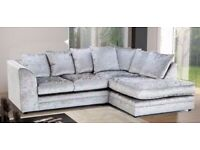 Crushed Velvet Corner Sofa BRAND NEW