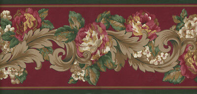 VICTORIAN RED AND GREEN FLORAL  WALLPAPER BORDER