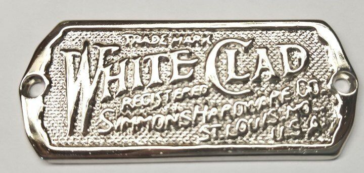 Cast Polished Nickel White Clad Ice Box Name plate nameplate refrigerator ant...