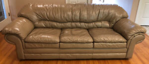 Leather Sofa Beige Queen Hide a bed
