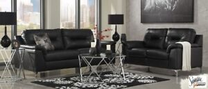 Black Faux Leather Sofa Set