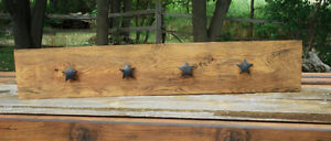 Hand Crafted Rustic Coat Rack with Texas Stars