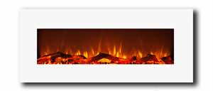 """50"""" Wall Hung Electric Fireplace with White Glass"""