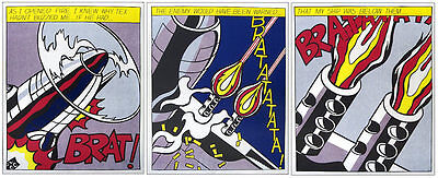 Roy LICHTENSTEIN  As I Opened Fire Triptych Offset Lithographs