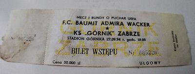Ticket for collectors EC Gornik Zabrze Admira Wacker Wien 1994 Poland Austria for sale  Shipping to South Africa