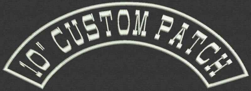 """Top or Bottom Embroidered Rocker 10"""" x 2"""" Patch for Biker Iron On or Sew On"""
