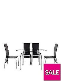 Varezze 130cm Glass Dining Table + 4 Chairs (Brand New)