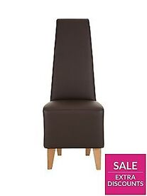Pair of Manhattan Faux Leather Dining Chairs Brow/ Oak ( Flat Pack)