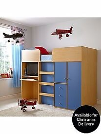 Fantastic blue mid sleeper with desk and wardrobe without mattress