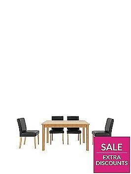 Primo 120 Cm Dining Table 4 Faux Leather Chairs New