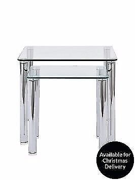 Tempered Glass Darcy Nest of Tables (BRAND NEW)