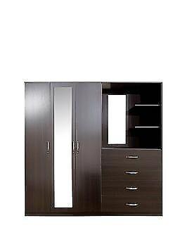 Peru 3 Door, 4 Drawer Mirrored Combi Wardrobe ( Brand New)