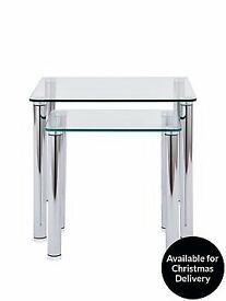 Tempered Glass Darcy Nest of Two Tables (Flat Pack )