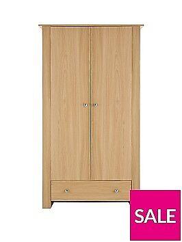 Milano 2-Door, 1-Drawer Wardrobe Oak ( Brand New Boxed)