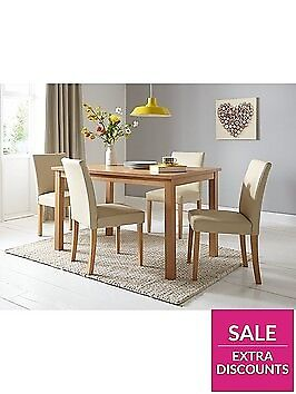 Primo 120 Cm Dining Table 4 Faux Leather Chairs Brand New