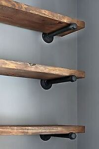 BARNWOOD SHELVING W/ PIPE BRACKETS