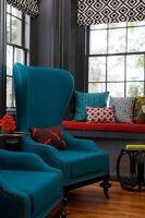 Brand New Elegant Mid-Century Velvet Blue Accent High-Back Chair
