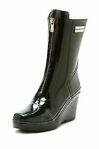Black HUNTER boots wedges heels — 7