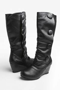 Brand new wedge button boots size 9