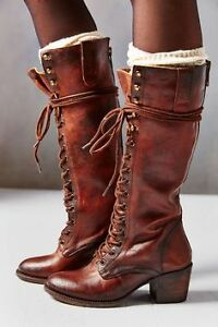Freebird by Steve Madden Granny Boots Leather Knee High