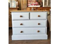 Painted Solid Pine 4 Drawer Chest