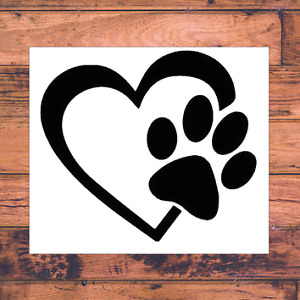 Vehicle heart pets vinyl decal