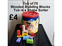 Tub of 75 wooden Building Blocks - Tub is a shape Sorter