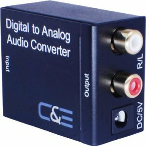 DIGITAL OPTICAL COAX COAXIAL TOSLINK TO ANALOG RCA AUDIO CONVERT