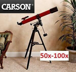 NEW CARSON REFRACTOR TELESCOPE RED REDPLANET SERIES, 50x-100x, 90mm - TELESCOPES SCOPES SCOPE BINOCULARS REFRACTORS
