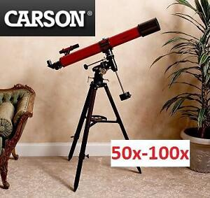 NEW CARSON REFRACTOR TELESCOPE RED REDPLANET SERIES, 50x-100x, 90mm 100116911