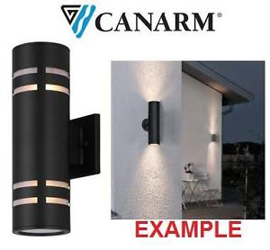 """NEW CANARM 2LIGHT OUTDOOR FIXTURE - 117091142 - Stainless steel 4-1/2"""" x 13"""" x 5"""" - 2 x 60W type A bulbs (not included)"""