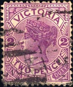 VICTORIA-AUSTRALIA-1884-1886-Effige-della-Regina-Vittoria-Leggenda-STAMP-DUT