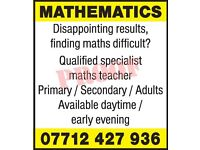 Maths tutor, one to one lessons with a qualified, specialist, experienced Maths tutor.