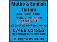 Maths & English Tuition KS3, GCSE, ESOL, 11+
