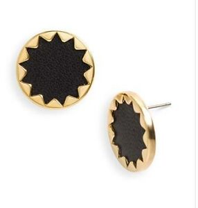 House of Harlow 1960 Black Sunburst Button Earrings