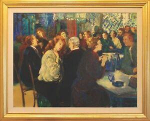 """Somptueux tableau 30"""" X 40"""" Happy Hour barflies, J. Wesselmann"""