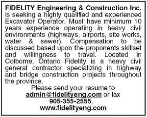 Wanted: Highly Qualified Excavator Operator