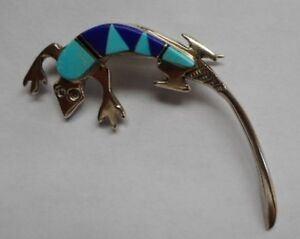 Vintage Turquoise and Lapis Silver Gecko Brooch - Sale