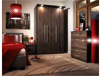 3 door glossy wardrobe with fitted spotlights