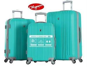 NEW OLYMPIA 3PC LUGGAGE SET MINT - HARD SPINNER SET - SUITCASE TRAVEL GEAR BAG