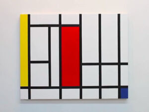 Mondrian-inspired acrylic painting with Montreal street theme