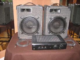 2 speakers & Sony 120w sterio amplifier model TA-FE210