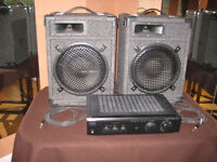 2 speakers & Sony 120w sterio amplifier model TA-FE210