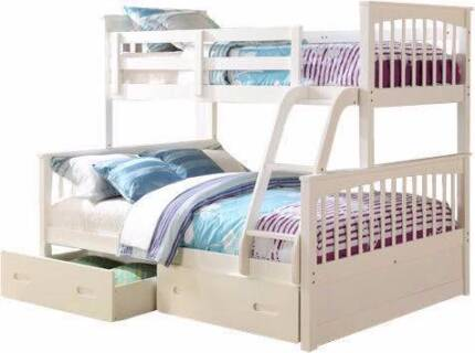 Emma White Solid Timber Kids Bunk Bed Single On Double Beds